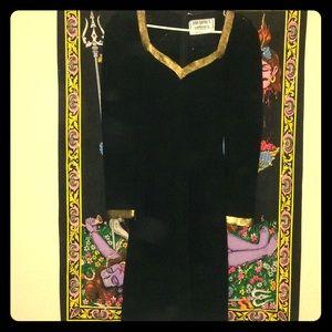 Black and gold vintage wiggle dress
